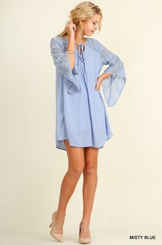 NEW UMGEE DENIM MISTY BLUE LACE DRESS WITH BELL SLEEVES SIZE S, M, L #UMGEE #TunicDress