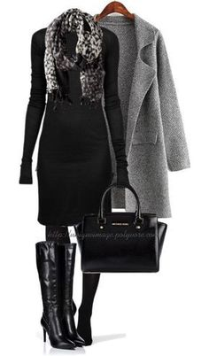 Classy Fall Outfit in Black and Grey – Fashion – Elegant Classy Fall Outfits, Outfits Casual, Mode Outfits, Fashion Outfits, Fashion Trends, Ladies Outfits, Grey Fashion, Look Fashion, Autumn Fashion