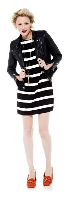 Black & White Striped Dress, Motorcycle Jacket, Orange Moccasins & Tassel Necklace