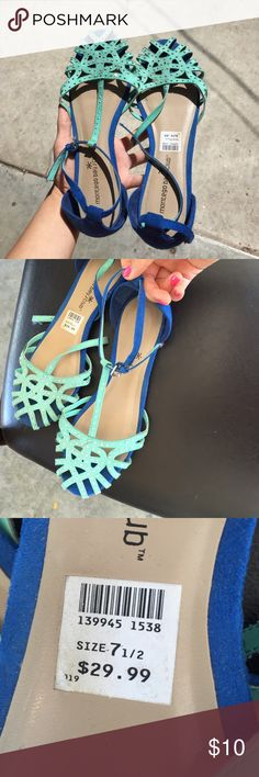 Gorgeous flats These super cute sandals/flats are very lightly work and In very good condition. They're in twos shades of blue and perfect for summer! Shoes Sandals