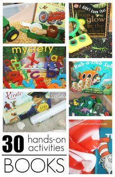 Book activities to go with favorite early learning books for toddlers, preschool, and grade school kids. Pair science, sensory, and early learning play with books. Makes great literacy activities to encourage early reading skills.