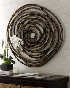 """""""Wooden Swirl"""" Wall Decor- bet i could make this from some reeds."""
