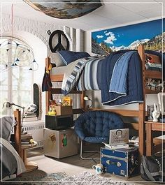 College Dorm Decorating Tips for Boys. Save floor space when you put your desk chair UNDER the bed. #collegedormdecorating