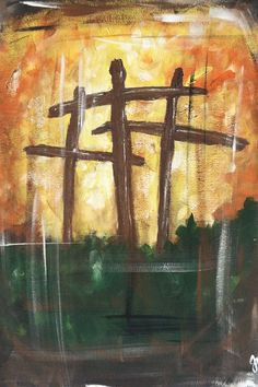 crosses painting on canvas
