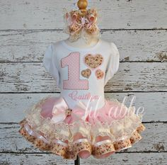 Shabby Chic Heart Birthday Outfit, Tutu Set~Includes Top, Ribbon and Lace Tutu, and Hair Bow~VERY CHIC! by lilabbehandmade on Etsy https://www.etsy.com/listing/209697523/shabby-chic-heart-birthday-outfit-tutu