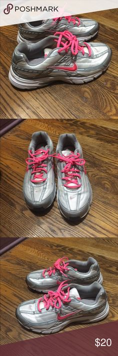 Nike initiator size 10 Barely worn Nike's in great shape. Light silver, silver & hot pink Nike Shoes Sneakers