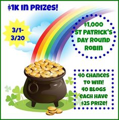 $1000 in total prizes, $25 each from 40 different blogs! This link will take you to The Savings Opportunity's $25 PayPal cash giveaway within the overall round robin.