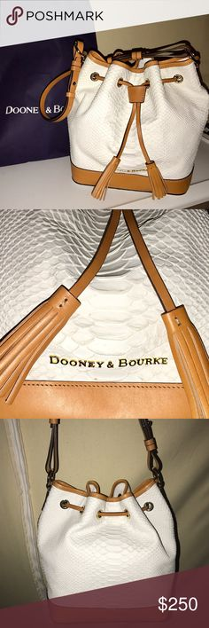 64acf60f626a NWT Dooney and Burke Python Claremont Bucket Bag Never carried. Python  embossed leather. Drawstring
