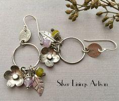 Sterling Silver Flower Earrings, Hand Cut Leaves, Dangles, Artisan Earrings, Hoop Earrings, Jewelry, Lavender Amethyst, Peridot Gemstones