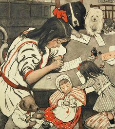 Wuanita Smith fille et ses amis la rédaction de lettres, illustration pour La Lettre de Noël 1905-1907