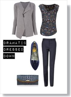 """Dramatic Kibbe Dressed Down"" by mpsakatrixie on Polyvore"