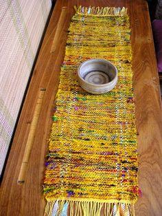 Handwoven Sari silk Table runner by VermiroSpinWeave on Etsy, $30.00