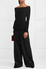 TheoryOff-the-shoulder stretch-crepe jacket