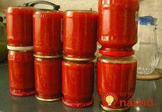 Home ketchup fără chimie inutilă NejRecept. Slovak Recipes, Homemade Ketchup, Home Canning, Preserving Food, Hot Sauce Bottles, Preserves, Food And Drink, Favorite Recipes, Snacks
