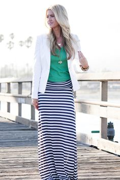 Striped maxi skirt, white blazer, colored top. I have a very similar skirt and needed a shirt inspiration to go with it