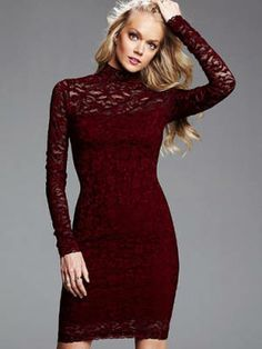 Burgundy roundup: Victoria's Secret Open-Back Lace Dress