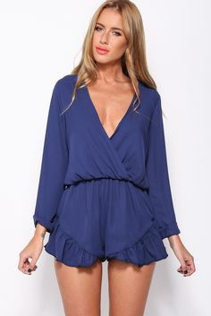 Frill My Fancy Playsuit, Navy, $65 + Free express shipping http://www.hellomollyfashion.com/frill-my-fancy-playsuit-navy.html
