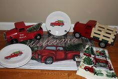 Celebrating a Fiesta® Dinnerware Christmas with 2017 Belk Holiday Farm Truck Luncheon Plates.