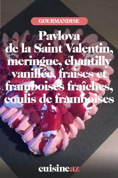 Une revisite de la traditionnelle pavlova en version rouge pour la Saint-Valentin. #recette#cuisine#pavlova#patisserie #saintvalentin #dessert #gateau Meringue, Dessert, Whipped Cream, Pavlova Recipe, Sugar Cake, Grout, Merengue, Deserts, Postres
