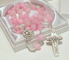 Baptism Rosary First Communion Rosary by AwfyBrawJewellery on Etsy
