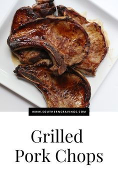 Tender, juicy pork chops with a beautifully seared exterior, using a cast iron grill pan on the grill! Here's the perfect recipe for delicious, easy pork chops. Easy Dinner Party Recipes, Easy Potluck Recipes, Juicy Pork Chops, Grilled Pork Chops, Ways To Cook Steak, Chops Recipe, Cooking On The Grill, Blue Angels, Pork Chop Recipes