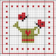 Butterfly, Watering can, heart, border (Biscornu inspiration)