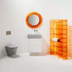 Italian company Kartell and Swiss brand Laufen relaunched its collection of flexible bathroom fixtures including ceramics, furniture, faucets and accessories, which are now available in a number of new colours and finishes. Stackable Shelves, Bathroom Collections, Geometric Lines, Traditional Bathroom, Bathroom Fixtures, Classic White, All Design, Industrial Style, Space Saving