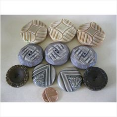 Lot of Vintage chunky plastic Coat buttons with various detail on eBid United Kingdom