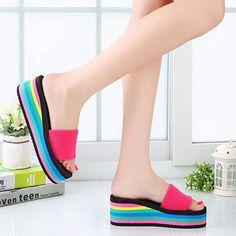Women Sandals Platform Rainbow Non-Slip Thick Soled Female Wedge Women Slippers Summer 2016 Beach Slippers Hot Sale