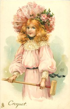 Ellen Jessie Andrews - English (1857-1907) - vintage postcard 1912 - Croquet