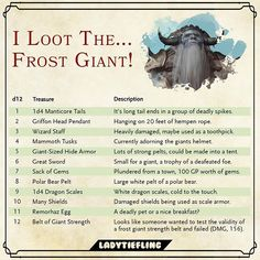 I loot the Frost Giant Dungeons And Dragons Homebrew, D&d Dungeons And Dragons, The Elder Scrolls, Dnd Table, Dm Screen, Wizard Staff, Pen & Paper, Dungeon Master's Guide, Dnd 5e Homebrew