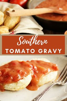 This tangy, savory topping is perfect for homemade biscuits, scrambled eggs, you name it! I even love it poured over cheese grits – think shrimp and grits, too. #tomatogravyrecipe #southerntomatogravy