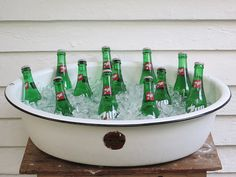 so fabulously rustic baby bathtub drink cooler