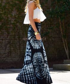 Black and white tie dye maxi skirt with white crop top. Why not try tie dying yourself for a truely unique look.