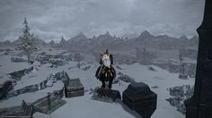 Starting my adventure into the cold white snow. The Coerthas Central Highlands.