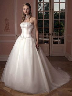 Strapless Satin Ball Gown Wedding Dress