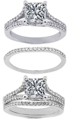 Princess Diamond Engagement Ring & Matching Wedding Band---the middle wedding band is what I want, to go with my simple princess diamond ring!---