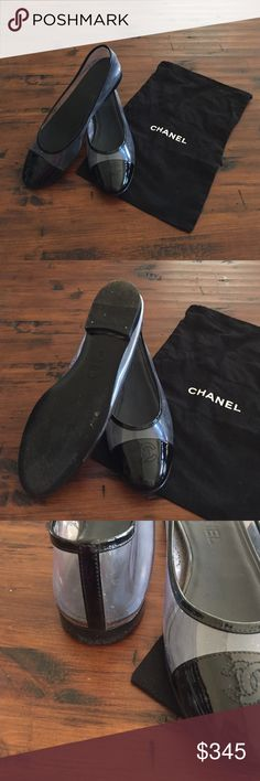 Clear Chanel flat with bag Clear Chanel flats with black toe + bag.  Like new - worn only a few times - and super cute on! Like what you see, but price too high? Make me an offer! Please ask questions. Smoke free home. CHANEL Shoes Flats & Loafers