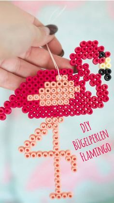 DIY Instructions: Iron-on beads Flamingo as a retro pendant- DIY Anleitung: Bügelperlen Flamingo als Retro Anhänger DIY Flamingo Iron On Beads, DIY Flamingo, Flamingo … - Diy Perler Beads, Pearler Beads, Fuse Beads, Flamingo Craft, Flamingo Party, Flamingo Gifts, Bead Bowl, Diy And Crafts, Crafts For Kids