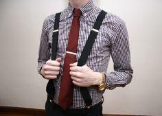 fun look: suspenders, red tie w clip & b/w check shirt