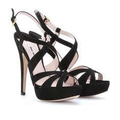 mytheresa.com - Miu Miu - SUEDE CROSS-STRAP PLATFORM SANDALS - Luxury Fashion for Women / Designer clothing, shoes, bags - StyleSays