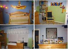 The Beatles Yellow Submarine Nursery: We are huge fans of The Beatles and Yellow Submarine seemed like the most appropriate Beatle theme for a nursery. We painted the room with Meadow Green