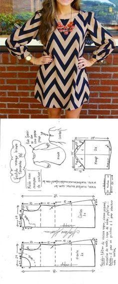 Sewing Blusas Vestido evasê com manga bispo Fashion Sewing, Diy Fashion, Ideias Fashion, Fashion Ideas, Dress Fashion, Moda Fashion, Unique Fashion, Diy Clothing, Sewing Clothes