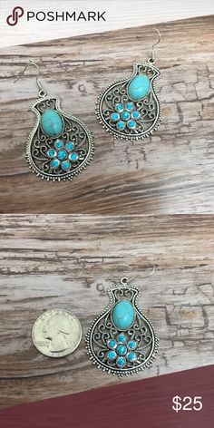 🔟Indian Inspired Turquoise Dangle Earrings ~Get this awe inspiring design earrings! ~Give a little sparkle and bling to you day! ~These are made with faux turquoise material and nickel safe metal. ~These are brand new. ~Get these now!  They will go quick! ~THINK CHRISTMAS! ~NO TRADES S Rosebud Fashions Jewelry Earrings