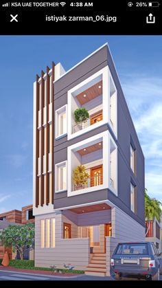 Suggest any design changes 3 Storey House Design, Duplex House Design, Modern House Design, House Outer Design, House Front Design, Building Elevation, House Elevation, 2bhk House Plan, Narrow House Designs