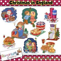 Christmas in England Clip art - a total of 27 images in color, black outline and black and white. Each image is PNG and 300dp Commercial use ok.