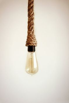 Rope Pendant - Hand wrapped in rope for pendent lighting, nautical rope light, Kistchen Bar Light jute twine rope, Rope swag hanging light 3ft long (or custom length) Rope Pendant w/ socket Pendant Lighting Use as an Industrial Kitchen Island Bar Drop Light swag lights, chandeliers or