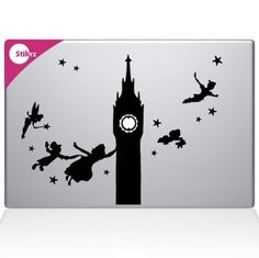 Amazon.com: Peter Pan Clock Tower Flying with Friends Night Sky Apple Apple Silhouette Macbook Symbol Keypad Iphone Apple Ipad Decal Skin St...