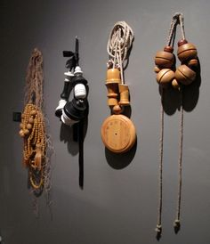 Exhibition view, Anna Rikkinen, A Dutch Encounter, 2011, necklaces, wood, rope, paper yarn; lacquered, painted, photo: Märta Mattsson