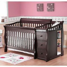"Sorelle Princeton 4-in-1 Convertible Crib with Changer - Espresso - Sorelle - Babies ""R"" Us"